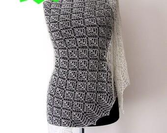 ecru lace shawl, delicate silk cashmere merino wool, handknitted