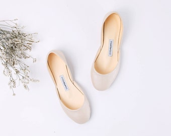 The Wedding Shoes in Cream | The Bridal Flat Shoes | Pearl Cream | Shoes for a Bride in Toffee Cream ... Limited Edition ... Made to Order