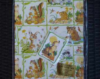 Wrapping Paper Gift Wrap & Gift Greeting Cards Set. Woodland Animals. Vintage 1970s. Current. New Old Stock. Frisky Friends. Alton Langford.