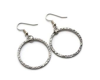 Antiqued Silver Hammered Hoops . Earrings
