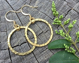 Antique Gold Hammered Hoops . Earrings