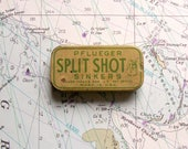 Vintage Pflueger Split Shot Sinkers Tin - Fishing Supplies - Great Up North Decor