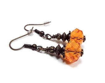 Orange Earrings Antiqued Brass Glass Crystal Beaded Drop Dangle Fall Jewelry Womens Gift