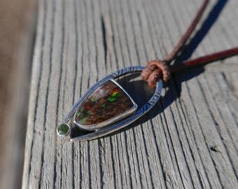 Virgin Valley Nevada Opal and Arizona Peridot pendant, rainbow ridge opalized petrified wood, fossilized wood, modern southwestern necklace