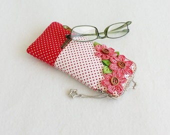 Beautiful Red Glasses Case, Eyeglass Case, Spectacle Case, Metal Frame Purse