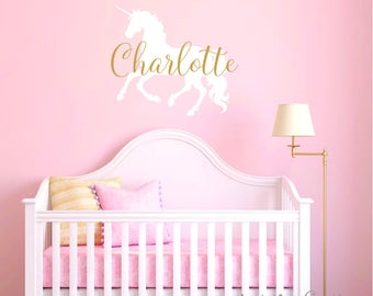 Unicorn Wall Decal - Baby Girl Nursery Wall Decal - Monogram Wall Decal - Unicorn Decor - Personalized Name Wall Decal - Gold Wall Decal