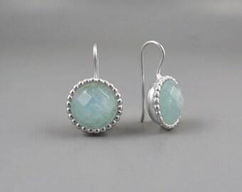 Aquamarine Earrings, Blue Silver Drop Earring, March Birthstone Earrings, Aquamarine Jewelry, Moss Aquamarine Gemstone, Round Blue Earrings