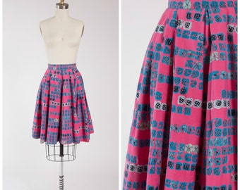 1950s Vintage Skirt • Mid Century Madness • Pink Turquoise MCM Printed Cotton 50s Full Skirt Size Small