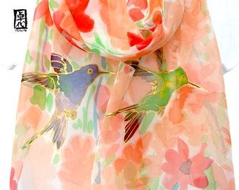 Silk Scarf Handpainted, Scarf gift for Wife, Hummingbird Art, Hummingbird Scarf, Red and Coral Orange Wildflowers, Takuyo, 11x60 inch