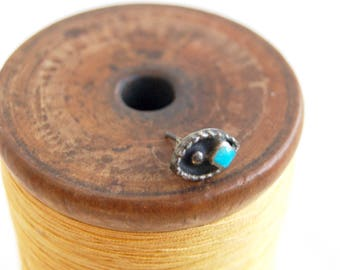Turquoise Stud Earring SINGLE Pod Shadow Box Vintage Southwestern Blue Post Jewelry Sterling Silver