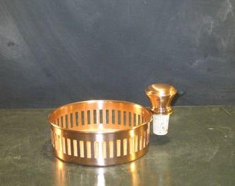 Vintage Copper Wine Bottle Coaster with Cork Bottle Stopper
