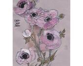 Mauve anemones - Lavender ranunculus - Original Painting on paper and viscose satin purple flowers, lavender, artwork mixed media art - OOAK