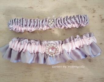 Bridal Garter / Wedding Garter  / Satin Garter / Hot Pink and Gray Garter/ Wedding Garter Belt/ Satin Garter