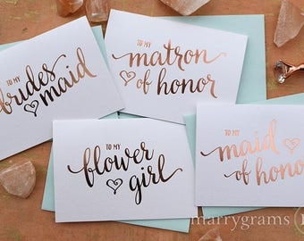 ROSE GOLD FOIL To My Bridesmaid, Wedding Party, Bridal Thank You Cards Thank Bridesmaid Card, Matron Maid of Honor, Flower Girl (Set 6) CS15