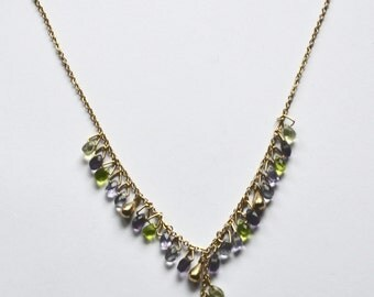 Purple green and gold Y necklace - crystal necklace