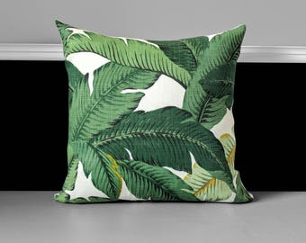 "Green Palms Pillow Cover - Tropical Tommy Bahama 18"" x 18"", Ready to Ship"