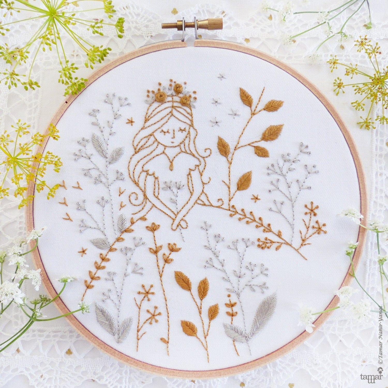 Modern Hand Embroidery Embroidery Kit Gold U0026 Gray Princess
