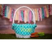 PRE EASTER SALE Basket Liner Easter Basket Liner Personalized Easter Basket Liner Monogrammed Easter Basket Liner - Choose from 32 Patterns