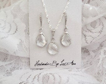 Sterling Silver Necklace and Earring Set, Clear teardrops, Brides jewelry set, Wedding jewelry set, Bridesmaids jewelry set, Gift