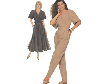 Simplicity 8492 Uncut Vintage 1980s Sewing Pattern Flared Wrap Dress or Wrap Jumpsuit Size 10 to 14 Bust 34 to 36 Elbow Length Kimono Sleeve