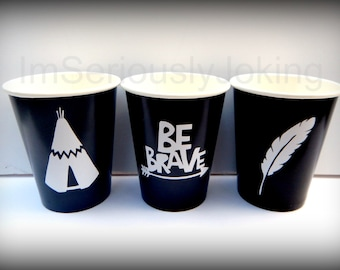 Tribe Party Cups-Be Brave cups-hipster cups-tee pee cups-Little Man Party-Little Man-Brave little warrior- baby Shower-Onesie-baby costume