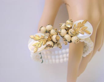 Vintage Mid Century Cluster Haskell Style Milk Glass Mother of Pearl Rhinestone Bracelet