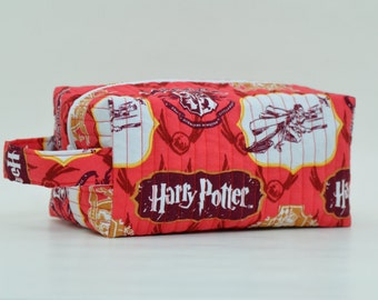 Harry Potter Quilted Cosmetic Bag with Handle, Boxy Pouch; Red, Maroon, White; Quidditch; Travel Bag, Shave Bag, Make-up Bag, Boxy Bag