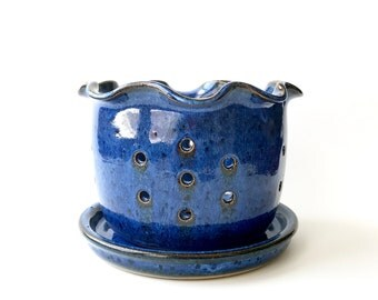 Strainer - Berry Bowl - Pottery Berry Bowl - Berry Colander - Ceramic Berry Bowl -  Ceramic Strainer - Wheel Thrown Pottery Berry Bowl Blue