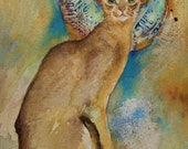 Oriental cat painting with gold disc - Abyssinian - original watercolor PRICE REDUCED
