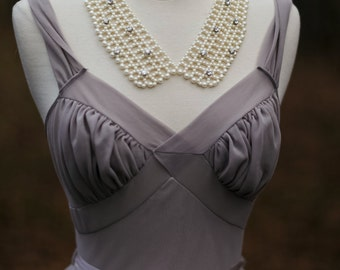 Peter Pan Necklace, Pearl Bib Collar ADJUSTABLE / Collar Bib Necklace Vintage Rhinestone Faux Pearl, Pearl Statement Jewelry Chunky necklace