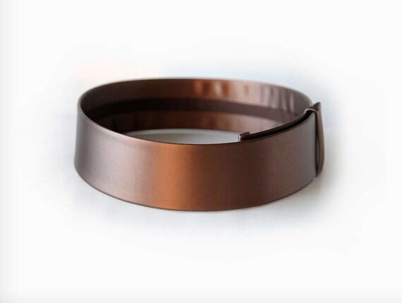 Bronze waist belt- metallic brushed bronze vegan leather women wide waist belt- modern and minimalist flat waist belt