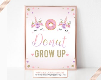 Unicorn Party Sign, Donut Unicorn Sign, Birthday Sign, Unicorn Table Sign, Printable Party Sign, Instant Download