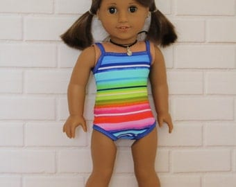 Blue Trim Bathers Swimmers, Togs, Swimwear Doll Clothes to fit 18 inch dolls to 20 inch dolls such as American Girl & Australian Girl dolls
