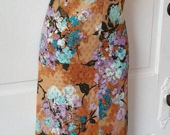 METALLIC MAXI DRESS // 70's Floral Print Handmade Dress Side Slits Size l/xl Lightweight See Through Gold