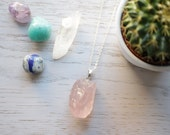Genuine Raw Rose Quartz crystal necklace with 925 silver plated chain