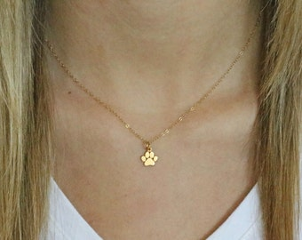 Gold Paw Print Necklace -Tiny Gold Paw Print Necklace - Paw Print Charm-Cat Dog Lovers Jewelry -Pet Memorial Necklace -Pet Jewelry - Dog Paw
