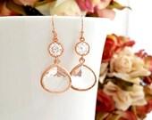 Rose gold earrings, Wedding Earrings, bridesmaid gift, bridal Earrings, Clear Earrings, Gold Earrings, Bridesmaid gift