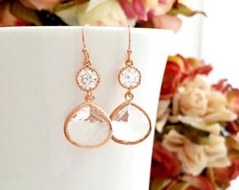 Rose gold earrings, Wedding Earrings, bridesmaid gift, bridal Earrings, Clear Earrings, Gold Earrings, Bridesmaid gift