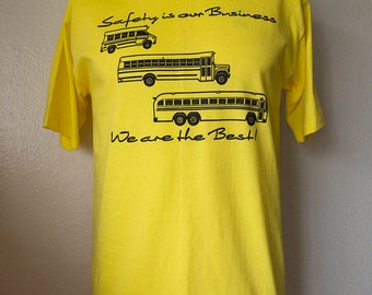 Vintage 80s School Bus Shirt Unisex Small Safety is Our Business Novelty T Shirt 1980s Yellow Tshirt Retro Soft Thin Hipster Clothing