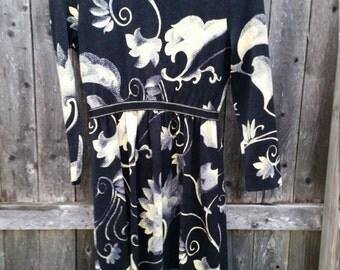 Vintage 70s Goldworm Boho Italian Wool Dress// Vintage 1970's Womens Dress