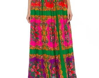 Floral Print Gathered Gypsy Skirt With Coins, Studs, Embroidery At Waistband Size: 2
