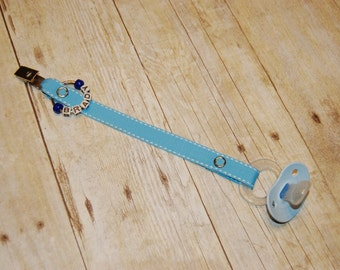 Pacifier Clip, Baby Blue with White Saddle Stitch, Personalization Available, Ready to Ship, Free USA Shipping