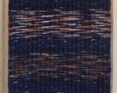 "Hand Woven Rag Rug - Navy Brown Cotton Rug 22"" x 46"""