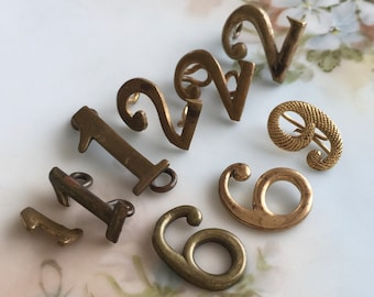 vintage metal number findings brass bronze military uniform industrial steampunk assemblage jewelry supplies destash, lot of 9 pcs