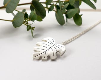Silver Leaf Necklace - Palm Leaf Tropical Leaf Necklace - Monstera Leaf - Nature Inspired Hawaiian Jewelry -  Botanical Necklace