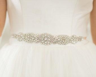 Bridal Sash Wedding Belt, Multi Colored Crystal Silver White Opal & Silk Vintage Applique Beaded Jeweled Deco Trim, Camilla Christine ALENA
