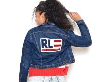 Vintage 90's POLO Ralph Lauren American Flag Cropped Jean Jacket Sz XS