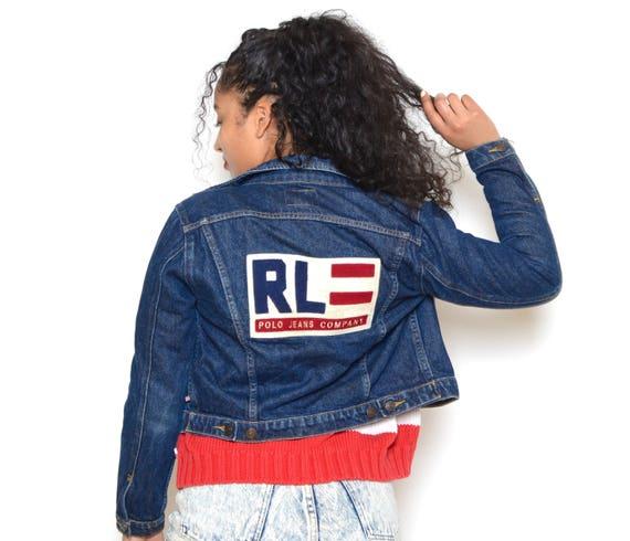Ralph lauren denim jacket with american flag