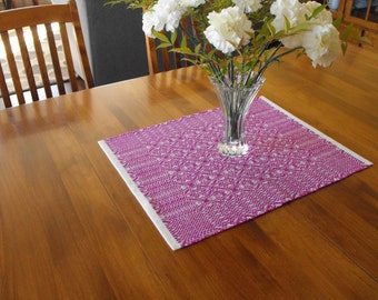 Hand Woven White and Magenta Table Runner Cotton and Wool Table Runner Handwoven, Magenta and White Table Runner Dining Table Runner Kitchen