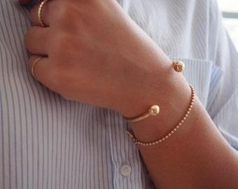Open Cuff Bracelet, Bangle Bracelet, Ball Bracelet, Dainty Gold Bracelet, Stacking Bracelet, Everyday Gold Filled or Silver Jewelry.